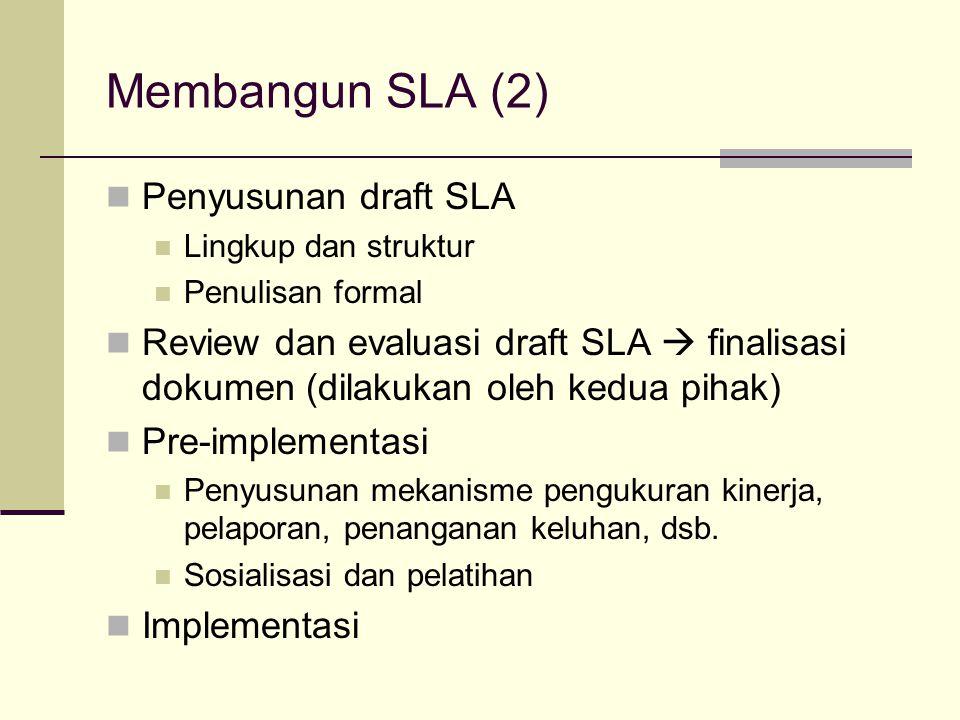 Membangun SLA (2) Penyusunan draft SLA