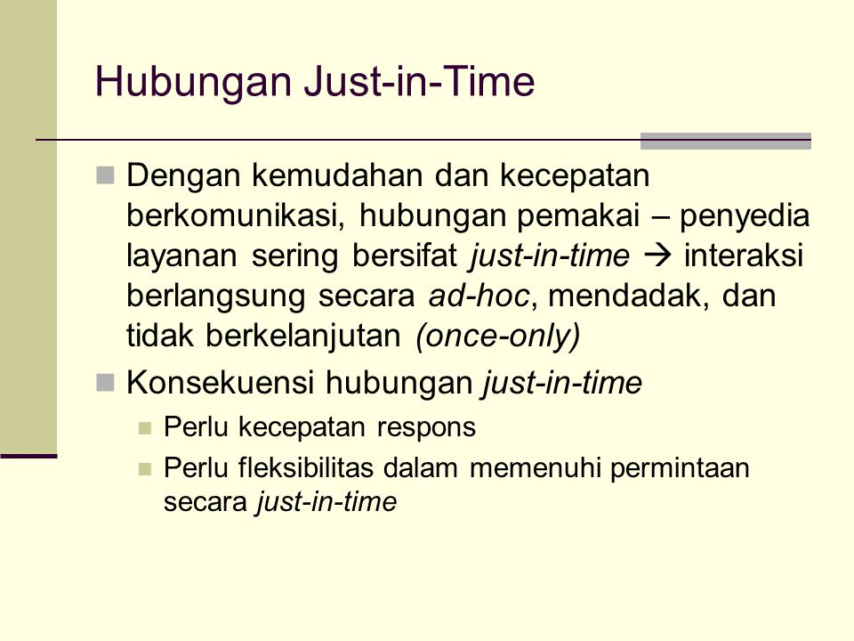 Hubungan Just-in-Time