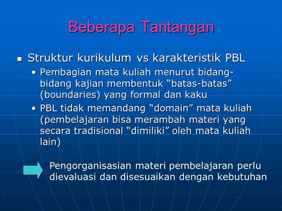 Beberapa Tantangan Struktur kurikulum vs karakteristik PBL