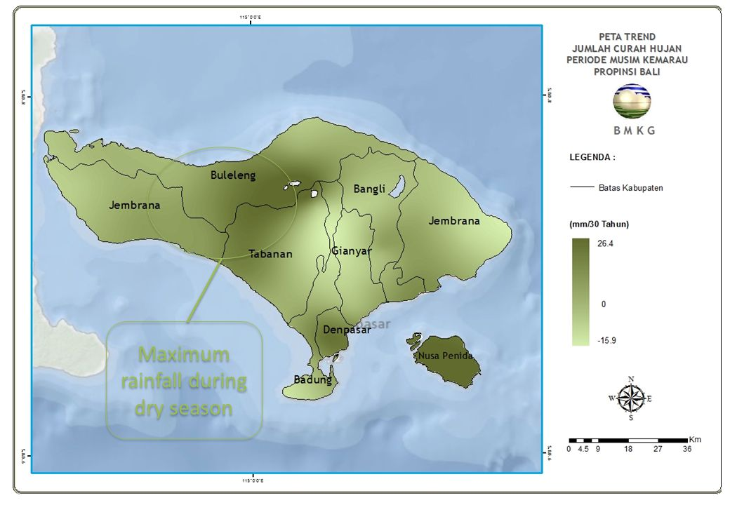 Maximum rainfall during dry season