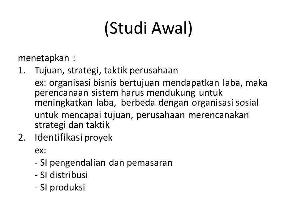 (Studi Awal) 2. Identifikasi proyek menetapkan :