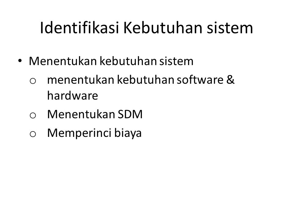 Identifikasi Kebutuhan sistem