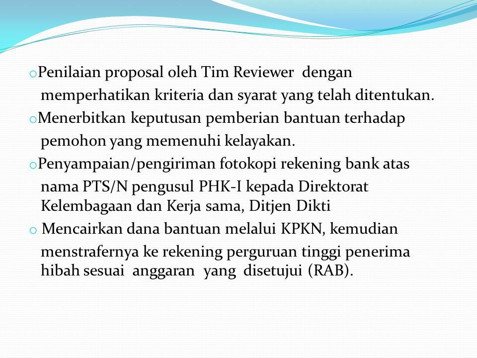Penilaian proposal oleh Tim Reviewer dengan