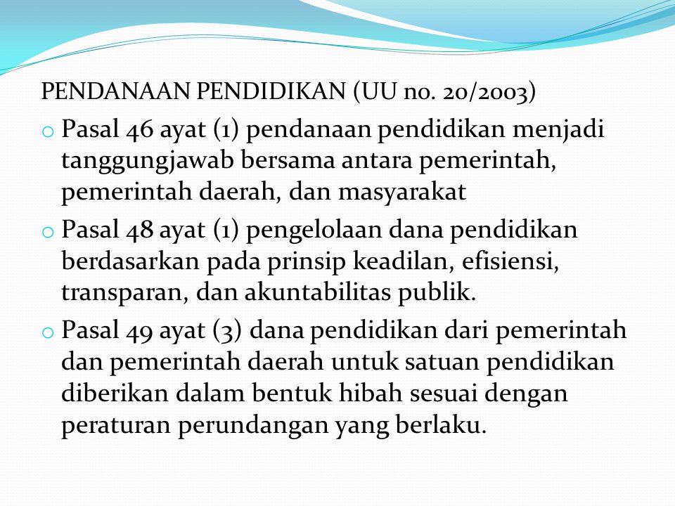 PENDANAAN PENDIDIKAN (UU no. 20/2003)