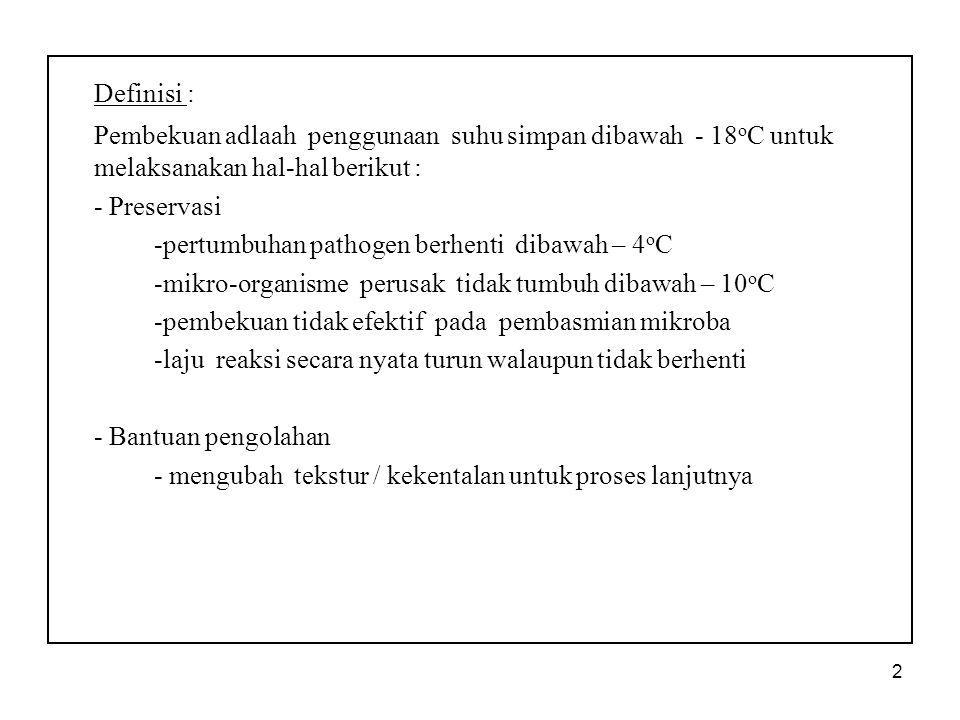 Definisi : Pembekuan adlaah penggunaan suhu simpan dibawah - 18oC untuk melaksanakan hal-hal berikut :