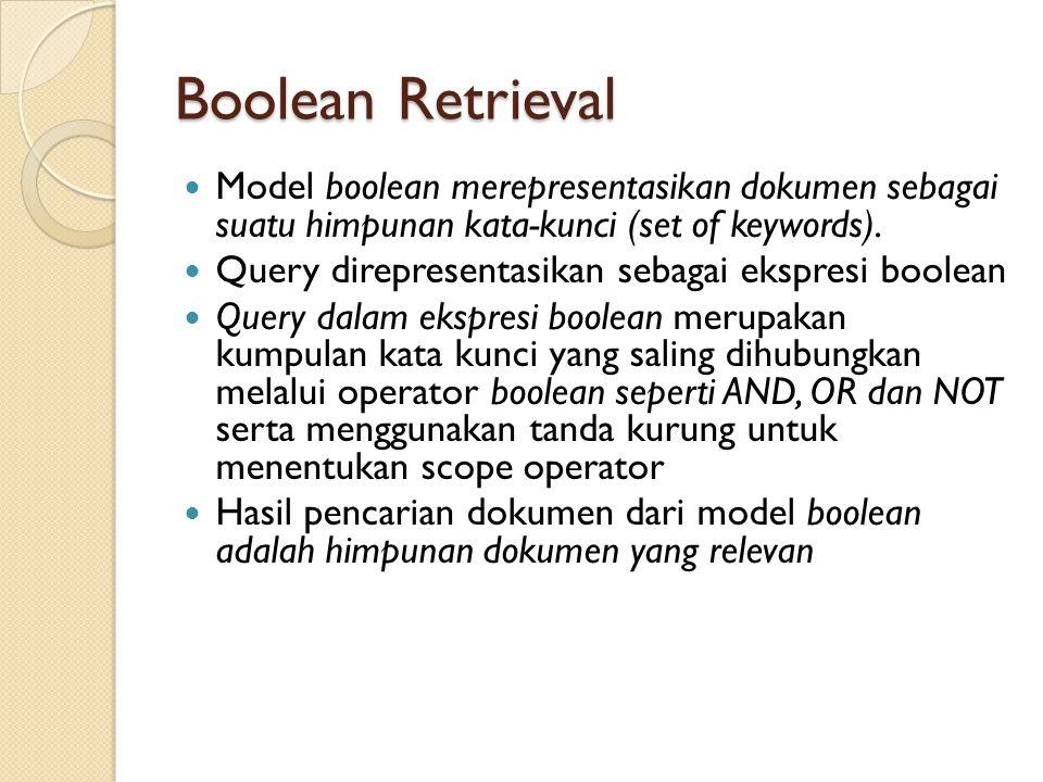 Boolean Retrieval Model boolean merepresentasikan dokumen sebagai suatu himpunan kata-kunci (set of keywords).