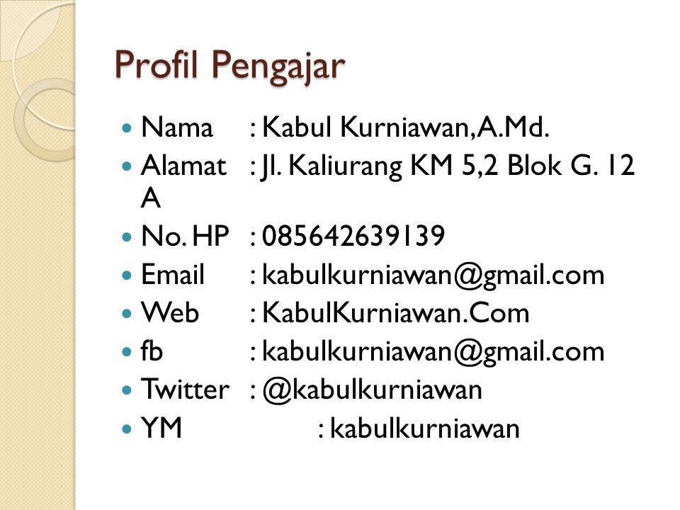 Profil Pengajar Nama : Kabul Kurniawan, A.Md.