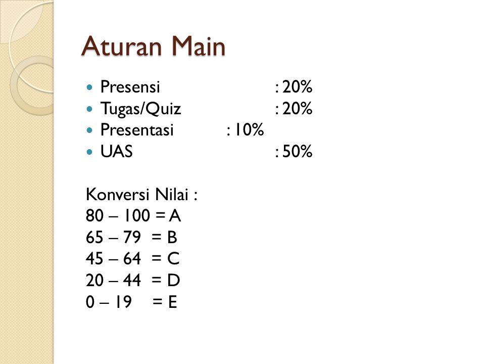 Aturan Main Presensi : 20% Tugas/Quiz : 20% Presentasi : 10% UAS : 50%