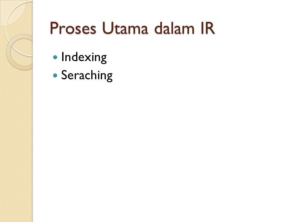 Proses Utama dalam IR Indexing Seraching
