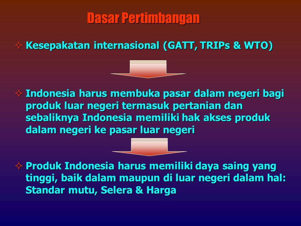 Dasar Pertimbangan Kesepakatan internasional (GATT, TRIPs & WTO)