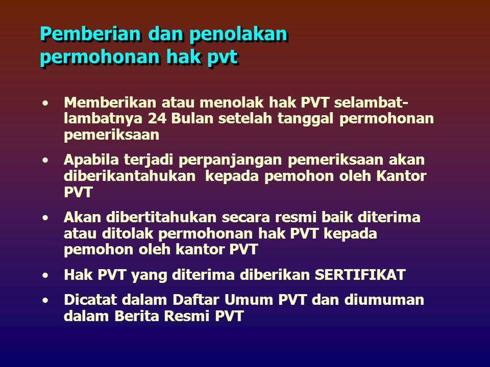 Pemberian dan penolakan permohonan hak pvt