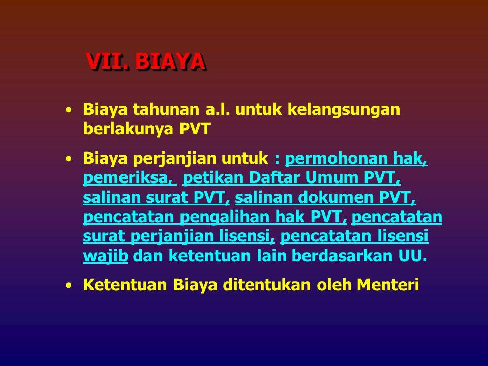 VII. BIAYA Biaya tahunan a.l. untuk kelangsungan berlakunya PVT