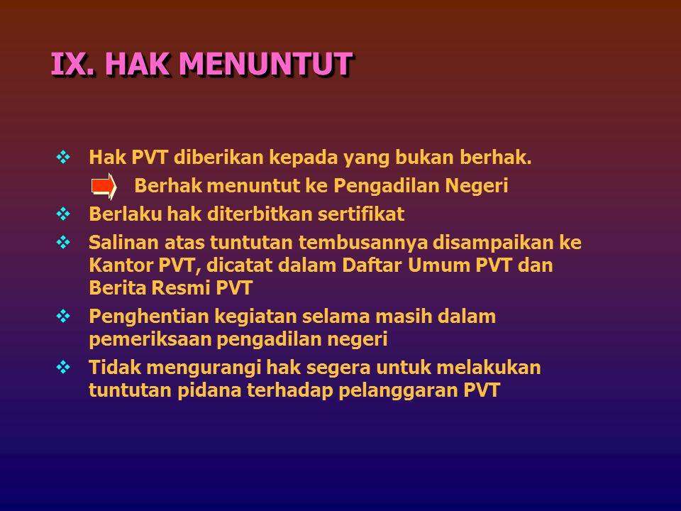 IX. HAK MENUNTUT Hak PVT diberikan kepada yang bukan berhak.