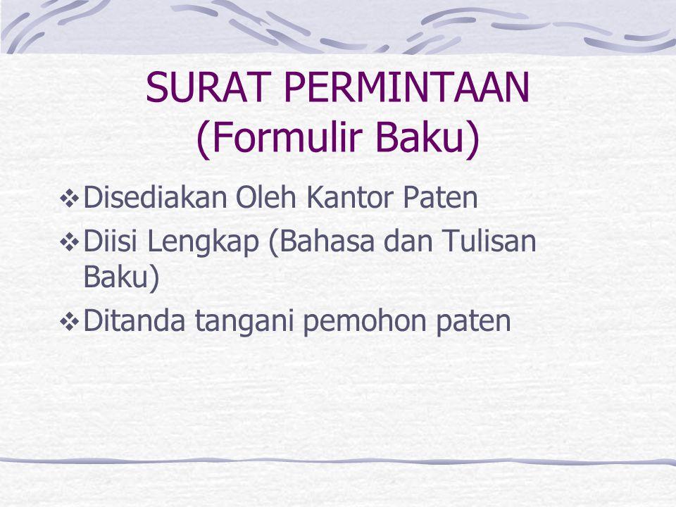 SURAT PERMINTAAN (Formulir Baku)
