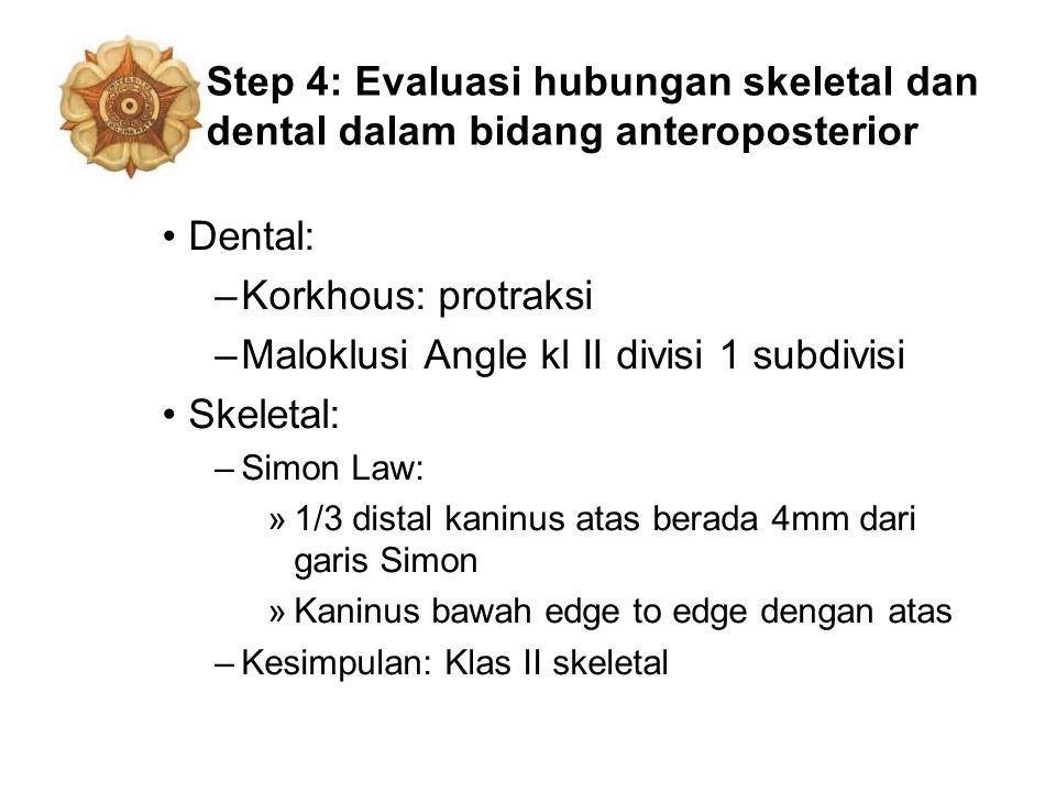 Maloklusi Angle kl II divisi 1 subdivisi Skeletal: