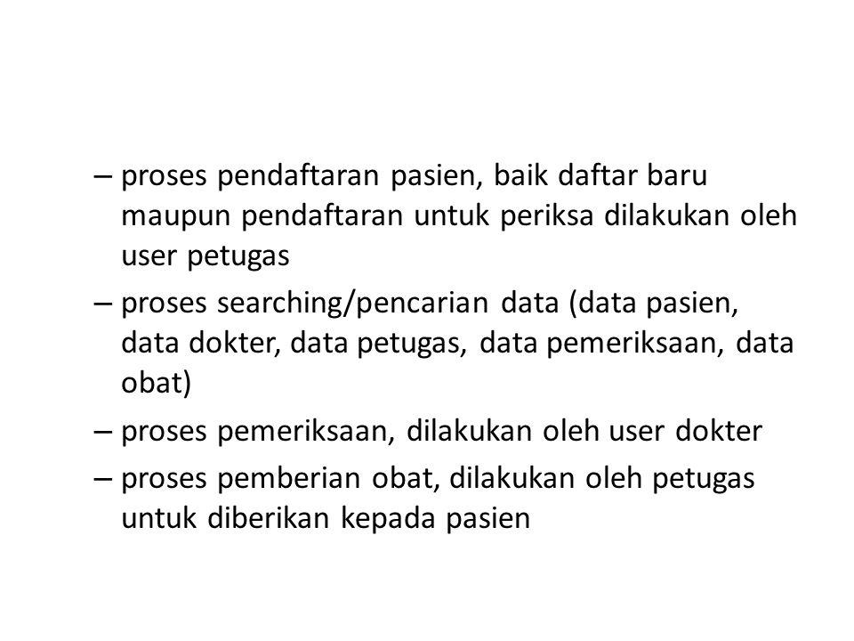 proses pendaftaran pasien, baik daftar baru maupun pendaftaran untuk periksa dilakukan oleh user petugas