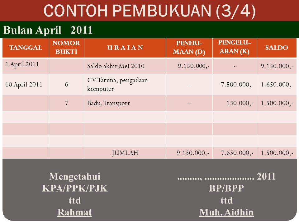 CONTOH PEMBUKUAN (3/4) Bulan April 2011 Mengetahui KPA/PPK/PJK ttd