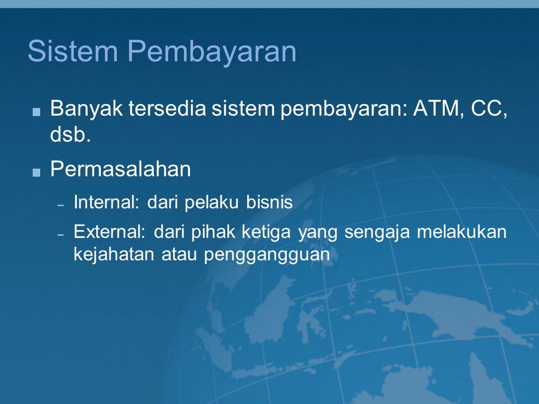 Sistem Pembayaran Banyak tersedia sistem pembayaran: ATM, CC, dsb.