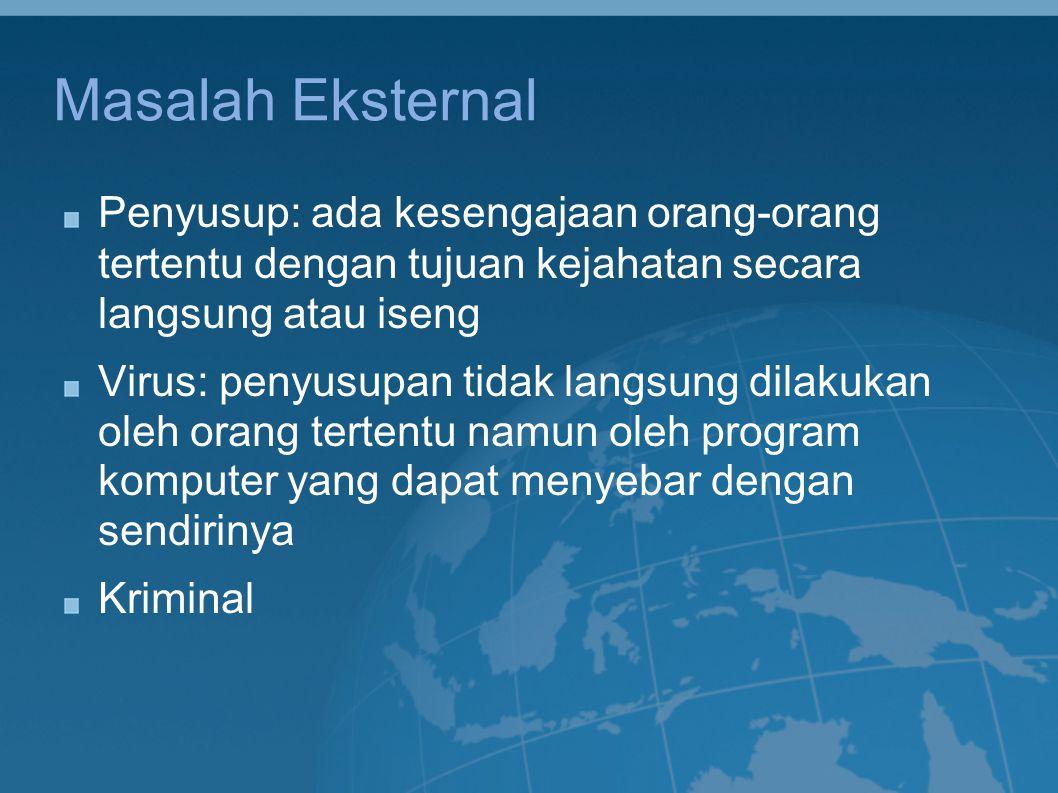 Masalah Eksternal Penyusup: ada kesengajaan orang-orang tertentu dengan tujuan kejahatan secara langsung atau iseng.