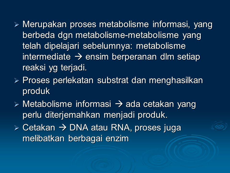 Merupakan proses metabolisme informasi, yang berbeda dgn metabolisme-metabolisme yang telah dipelajari sebelumnya: metabolisme intermediate  ensim berperanan dlm setiap reaksi yg terjadi.