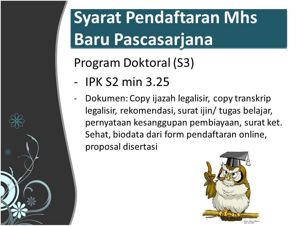 Syarat Pendaftaran Mhs Baru Pascasarjana