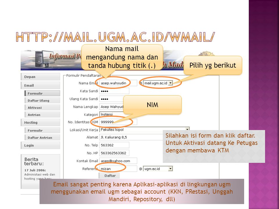 Nama mail mengandung nama dan tanda hubung titik (.)