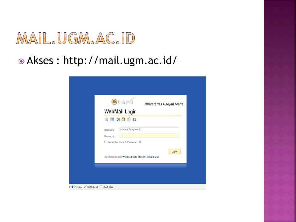 mail.ugm.ac.id Akses : http://mail.ugm.ac.id/