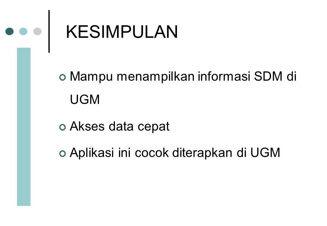 KESIMPULAN Mampu menampilkan informasi SDM di UGM Akses data cepat