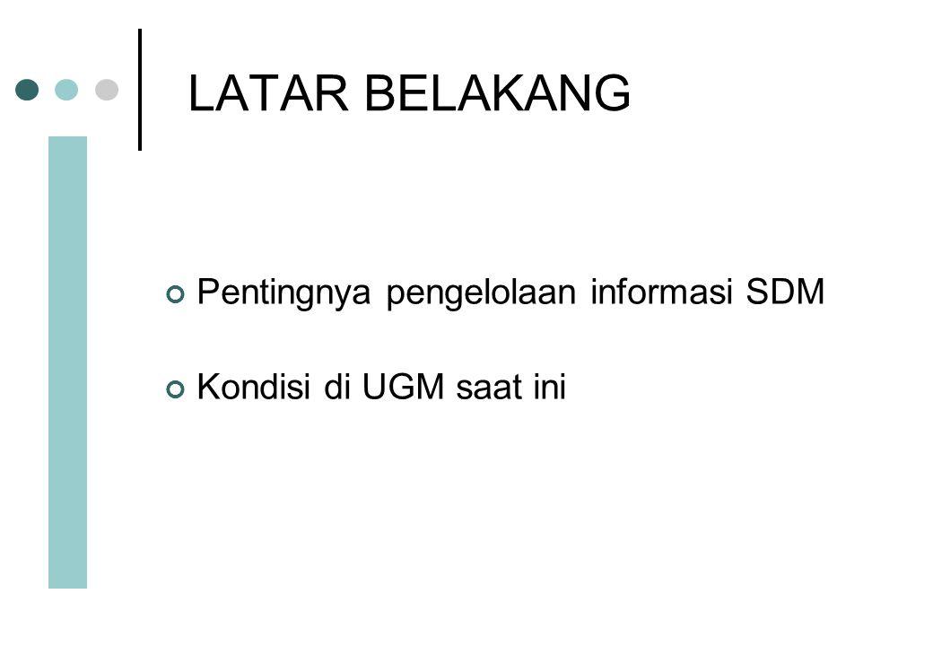 LATAR BELAKANG Pentingnya pengelolaan informasi SDM
