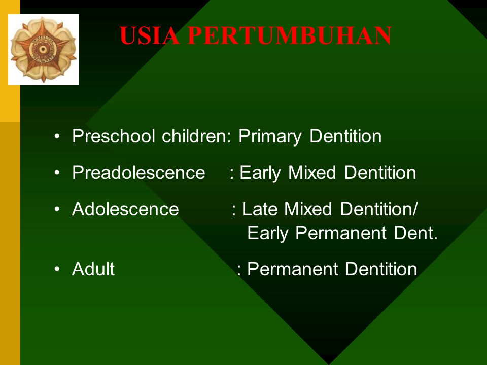 USIA PERTUMBUHAN Preschool children: Primary Dentition