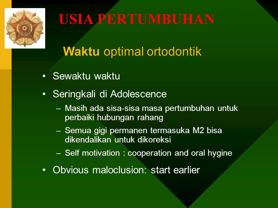 USIA PERTUMBUHAN Waktu optimal ortodontik