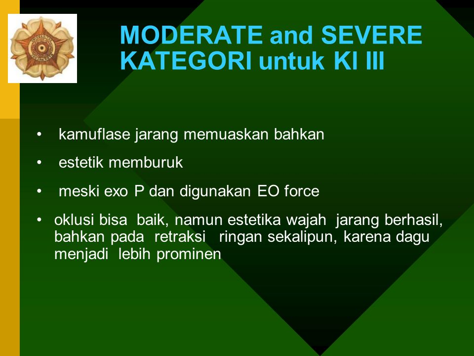 MODERATE and SEVERE KATEGORI untuk Kl III