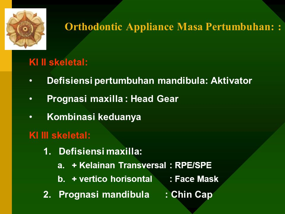 Orthodontic Appliance Masa Pertumbuhan: :