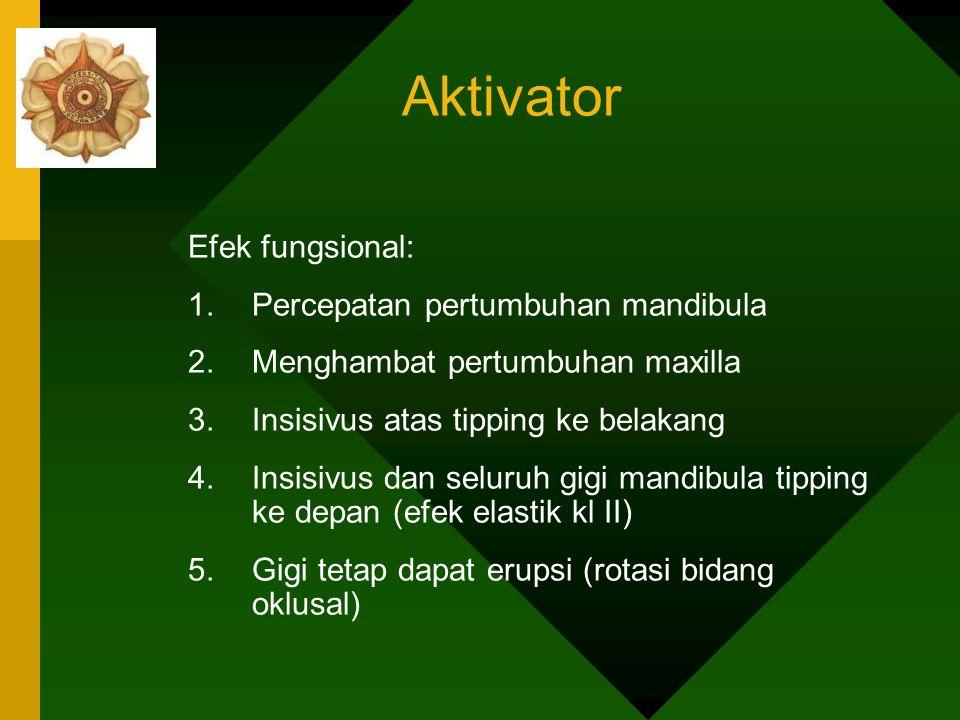 Aktivator Efek fungsional: Percepatan pertumbuhan mandibula