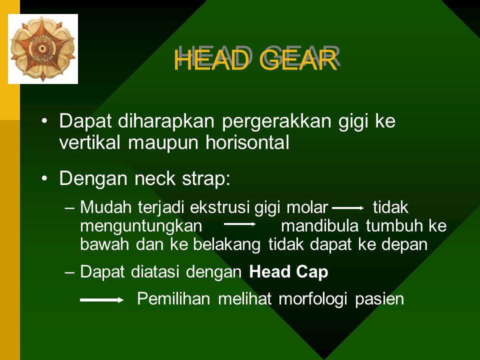 HEAD GEAR Dapat diharapkan pergerakkan gigi ke vertikal maupun horisontal. Dengan neck strap: