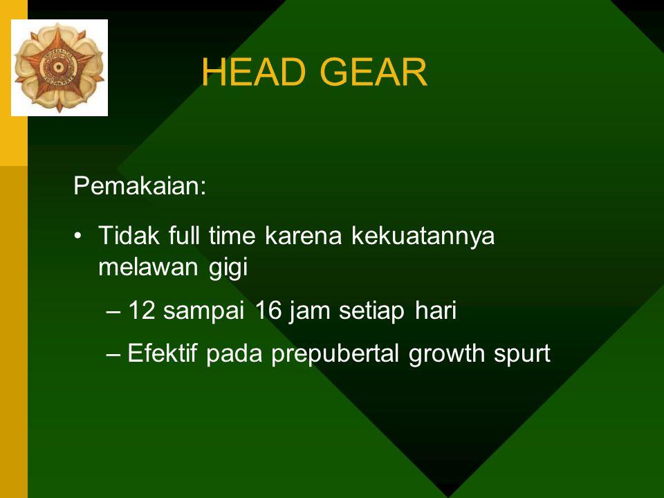 HEAD GEAR Pemakaian: Tidak full time karena kekuatannya melawan gigi
