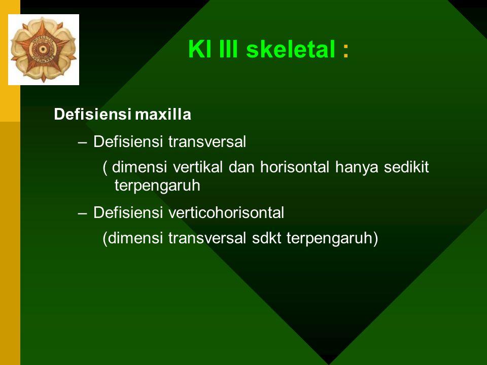 Kl III skeletal : Defisiensi maxilla Defisiensi transversal