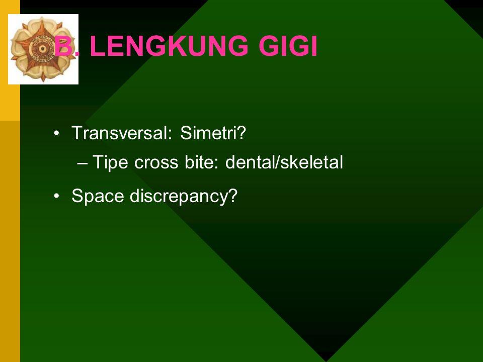 B. LENGKUNG GIGI Transversal: Simetri