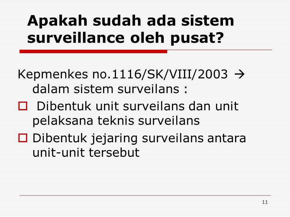 Apakah sudah ada sistem surveillance oleh pusat
