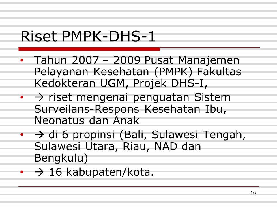 Riset PMPK-DHS-1 Tahun 2007 – 2009 Pusat Manajemen Pelayanan Kesehatan (PMPK) Fakultas Kedokteran UGM, Projek DHS-I,
