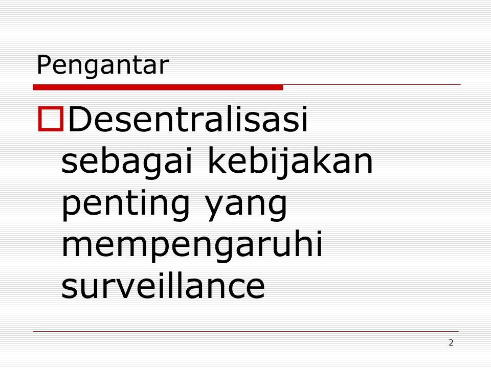 Pengantar Desentralisasi sebagai kebijakan penting yang mempengaruhi surveillance