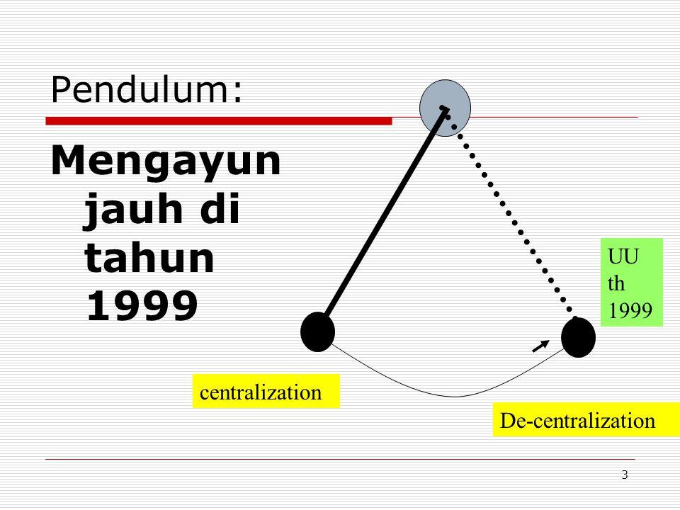 Mengayun jauh di tahun 1999 Pendulum: UU th 1999 centralization