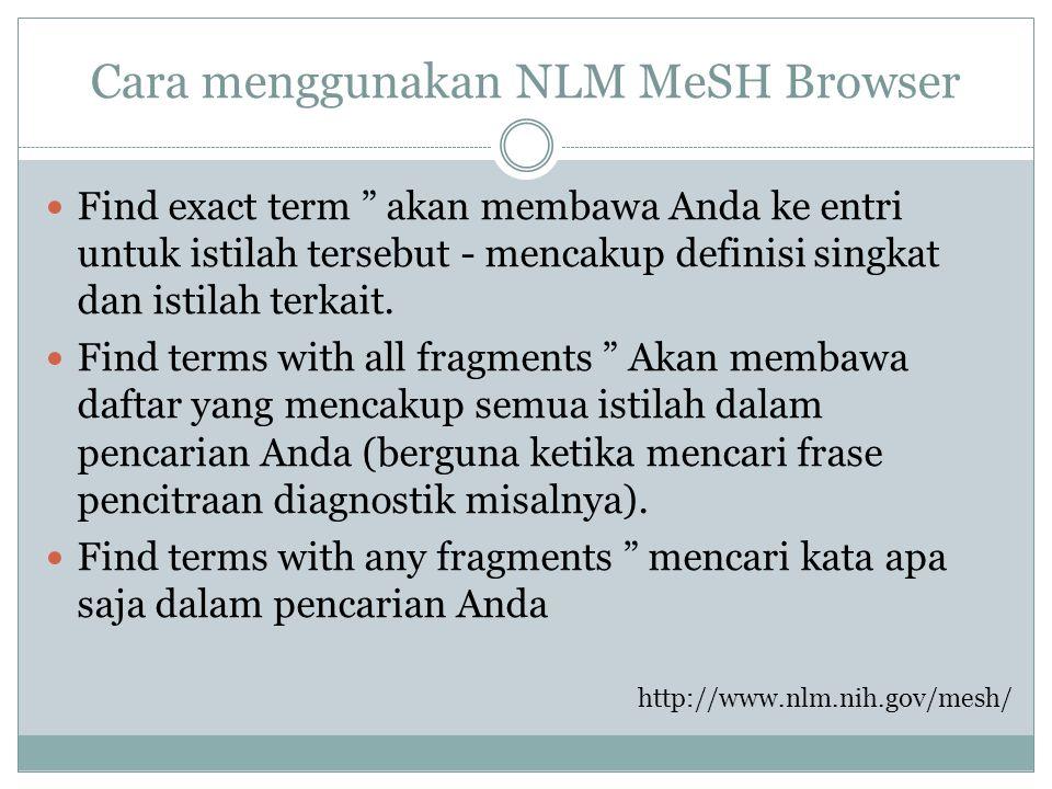Cara menggunakan NLM MeSH Browser