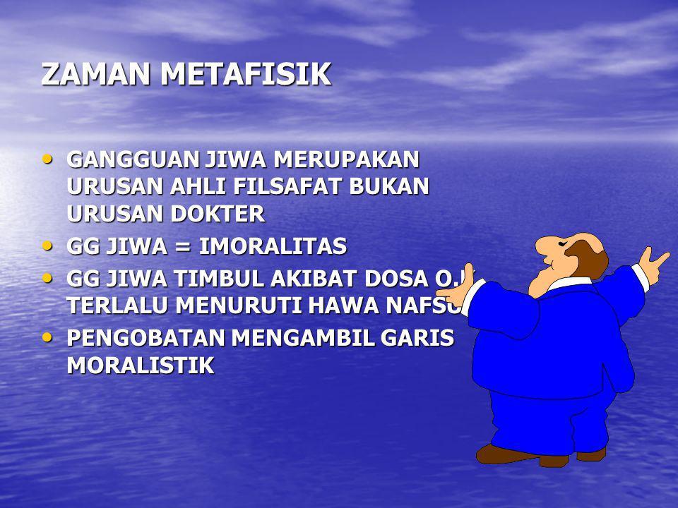 ZAMAN METAFISIK GANGGUAN JIWA MERUPAKAN URUSAN AHLI FILSAFAT BUKAN URUSAN DOKTER. GG JIWA = IMORALITAS.