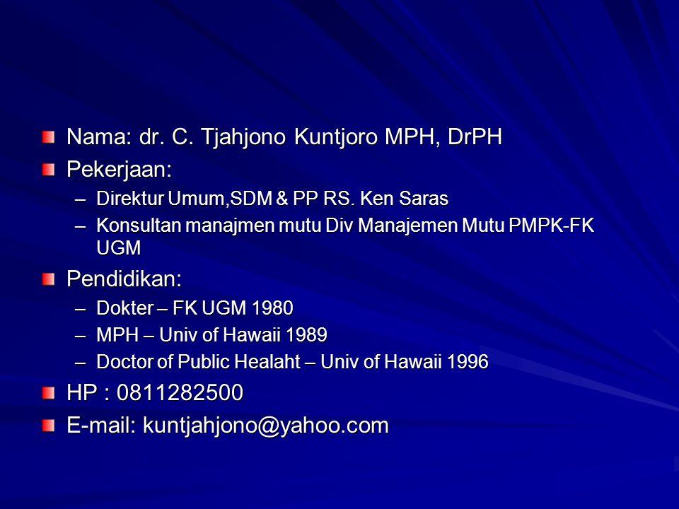 Nama: dr. C. Tjahjono Kuntjoro MPH, DrPH Pekerjaan: