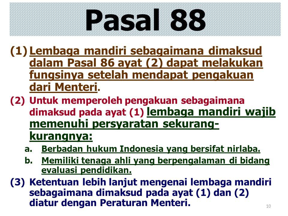 Pasal 88 Lembaga mandiri sebagaimana dimaksud dalam Pasal 86 ayat (2) dapat melakukan fungsinya setelah mendapat pengakuan dari Menteri.