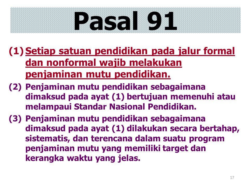 Pasal 91 Setiap satuan pendidikan pada jalur formal dan nonformal wajib melakukan penjaminan mutu pendidikan.