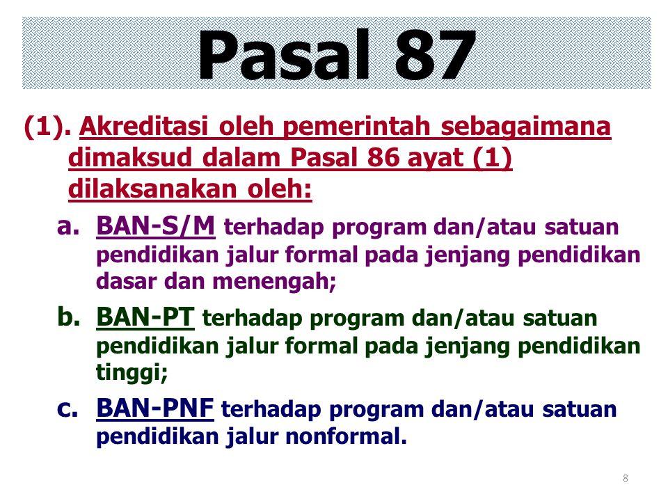 Pasal 87 (1). Akreditasi oleh pemerintah sebagaimana dimaksud dalam Pasal 86 ayat (1) dilaksanakan oleh: