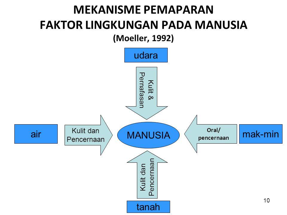 MEKANISME PEMAPARAN FAKTOR LINGKUNGAN PADA MANUSIA (Moeller, 1992)