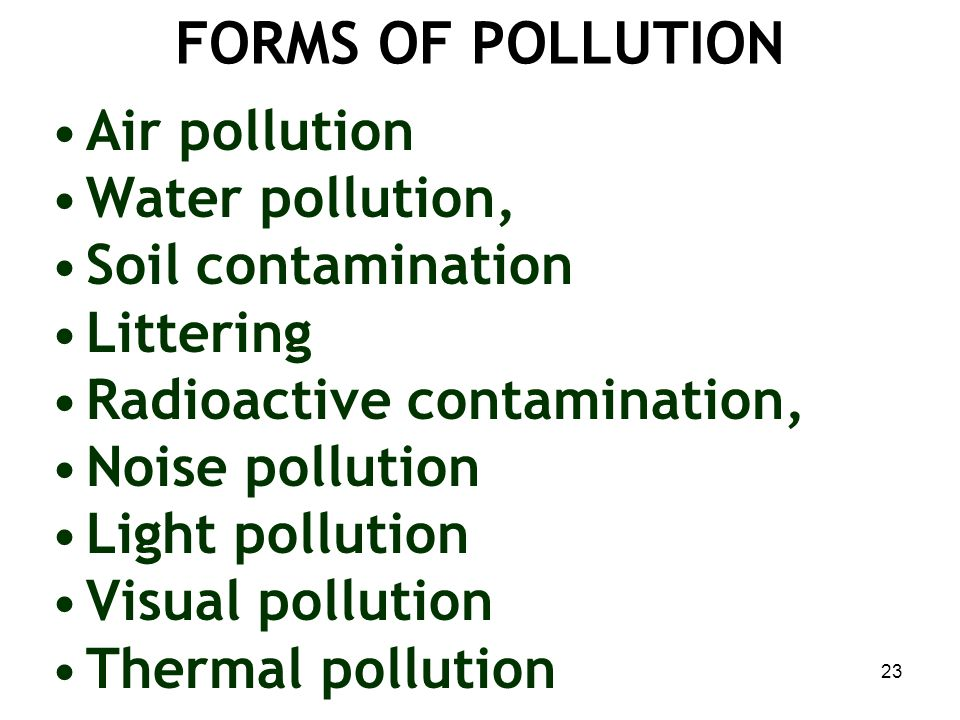 FORMS OF POLLUTION Air pollution Water pollution, Soil contamination